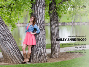 graduation photography and invitation from Colorado State University